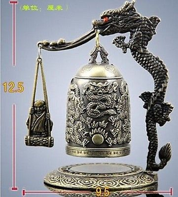 HANDWORK tibet silver Exquisite Tibet Bronze Carved Dragon&buddha Bell Metal Crafts Tibetan Bronze decoration