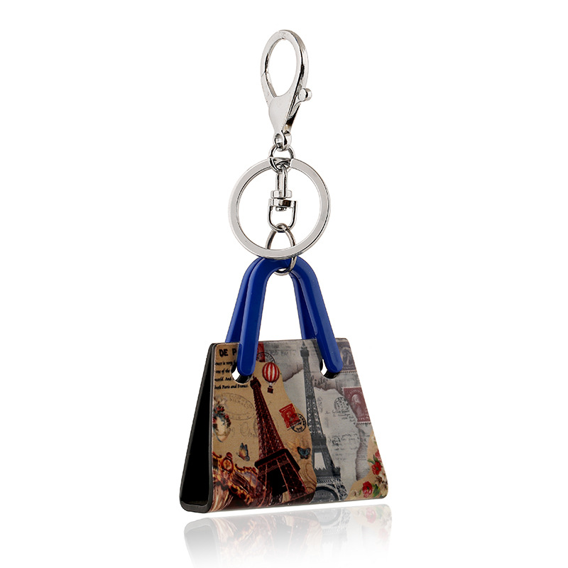Paris street scenery keychain printing handbag Korean fashion creative small gifts